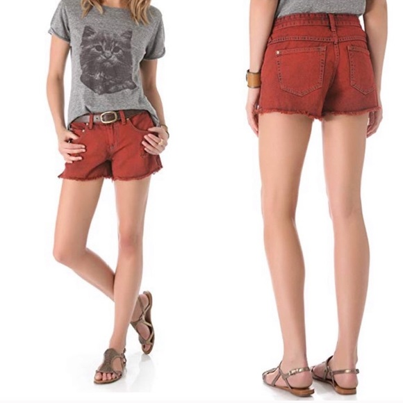 Free People Pants - Free People Distressed Overdyed Sunset Red Shorts